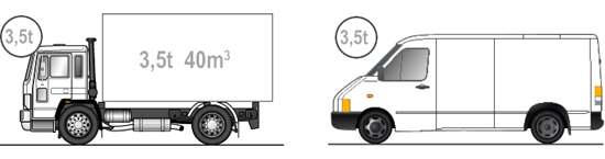 Truck to 3,5t, volume up to 40m3