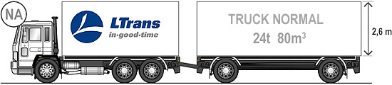 Truck normal - load of 24 t, volume of 80m3 including trailer